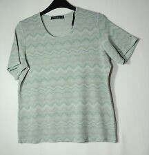BLUE GREEN GEOMETRIC STRETCH TOP BLOUSE SIZE S-M WRAPT