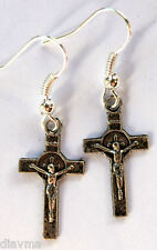 st Benedict Jesus Christ God Cross Crucifix Christian light weight EARRINGS