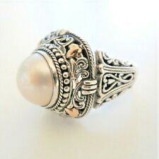 Beautiful Mabe Pearl Sterling Silver 18k Ring 925