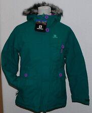 Salomon 366051 White Season Parka Girls Mädchen Ski Pelz Winter Jacke Grün 128