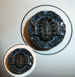 BLUE TINTED BLACK GLASS BUCKLE DESIGN SILVER LUSTER PICTORIAL ANTIQUE BUTTON