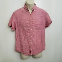 J Crew Mens Slim Fit Linen Button Up Shirt Medium Red Short Sleeve Button Down