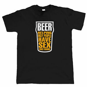 Beer Helping Ugly People, Mens Funny Drinking T Shirt, Gift Dad Him