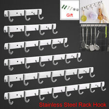 Kitchen Bathroom Towel Hat Clothes Stainless Steel Hanging Wall Row Rack Hooks