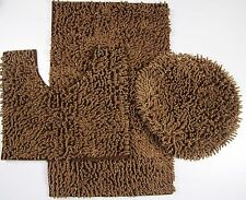 3 Piece Mixed Shiny Chenille Bath Mats Set Made with super soft Microfiber Brown