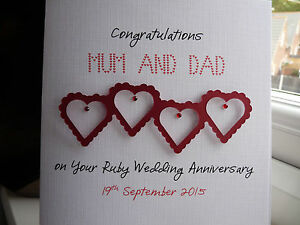 Personalised Ruby Wedding Anniversary  Card 40th Mum and Dad ANY WORDING