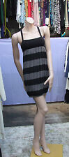 S/M Divided H&M Delightful Black & Grey Strappy Puffball Dress Crossover Back