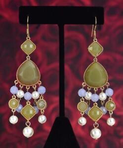 KJL KENNETH JAY LANE GOLD w GREEN & PURPLE JADE w PEARL DANGLE HOOK EARRINGS