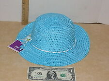 Girls Spring Easter Blue Woven Hat Dressy One Size
