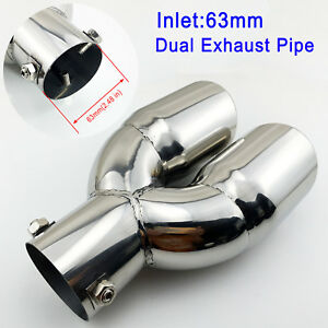 """Auto Rear Muffler 63mm 2.5"""" Inlet Chrome Tail Pipe End Tip Exhaust Silencer Trim"""