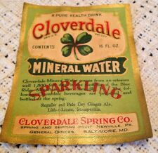 Rare Cloverdale Sparkling Mineral Water Label Newville Pa. 1920
