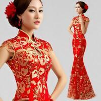 Chinese Embroidery Cheongsam Evening Prom Bridal Wedding Mermaid Dress Ball Gown