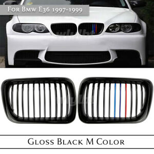 For BMW 3 Series E36 M3 1997-1999 M Style Gloss Black Front Kidney Grille Grill