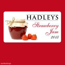 24 x Jam jar pot Autocollants Étiquettes Maison préserve personnalisée fraise -363