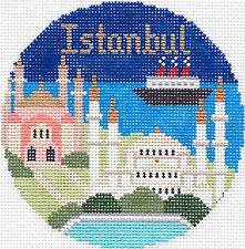 ISTANBUL, TURKEY handpainted Needlepoint Canvas Ornament by Silver Needle