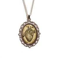 Anatomical heart necklace gothic pendant love romantic goth victorian skeleton