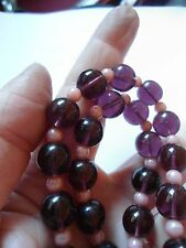 STRING OF PRETTY AMETHYST & PINK GLASS BEADS 16 INCHES STOCKING FILLER