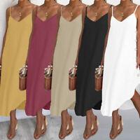 Womens Summer Sleeveless V Neck Loose Beach Party Asymmetric Sundress Slip Dress