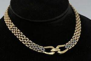 """Heavy 14K gold .90CTW diamond 16.25"""" long/11mm wide panther link necklace"""