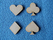 12xWood MDF card suit hearts clubs diamonds spades 3mm thick Craft shapes blanks