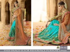 Ethnic Indian New Wedding Bridal Saree Sari Floral Work Designer Dresses Suit