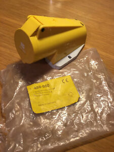 Mennekes IP44 Yellow Wall Mount 2P+E Right Angle 110V 16A Socket