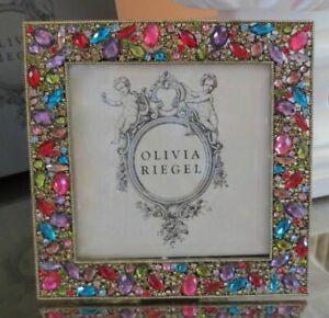 "NEW Olivia Riegel Gold Rhinestone 5"" Square Frame"