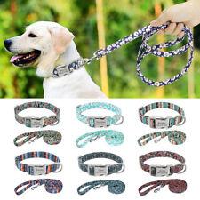 Nylon Personalised Dog Collar and Lead Leash Custom Pet Dog ID Name Tag Engraved