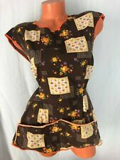 New listing Apron Top Vintage Women's Kitchen Cooking Wrap Brown Autumn Fall Print