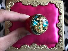 Betsey Johnson HUGE Red Lucite Gold Anchor Nautical Blue Striped Bubble Ring