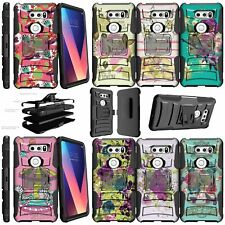 For LG V30 (2017) Shockproof Dual Layer w/ Kickstand Holster Clip Case - Flowers