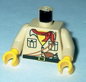 TORSO M016 Lego Male Tan Desert Safari Shirt, Red Bandana, Gun pattern NEW