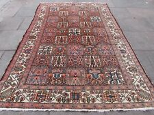Old Traditional Persian Rug Wool Faded Pink Oriental Hand Made Carpet 300x200cm