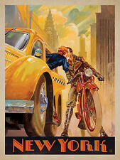 New York cab  art Vintage Illustrated Travel Poster Print   Framed Canvas