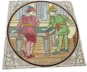 A Superb 19th Century Tile Sporting Interest Two Elegant Men Playing Billiards