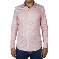 Camicia Uomo Casual Slim Cotone Microfantasia Rosa Manica Lunga Colletto SARANI