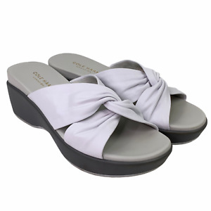 Cole Haan Grand.0S Aubree Knotted Leather Wedge Slide Sandal White Size 5 B
