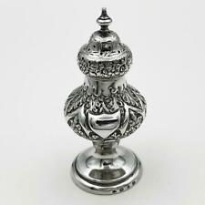 More details for fine victorian sterling silver repousse pepperpot birmingham 1894