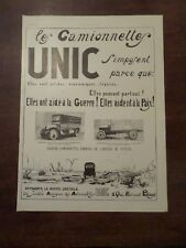 Publicité ancienne 1919 Camionnette Unic Pub 41 x 29.5 advert guerre camion
