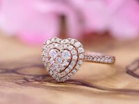 0.75 Ct Round Cut 14K Rose Gold Women's Halo Engagement Heart Ring