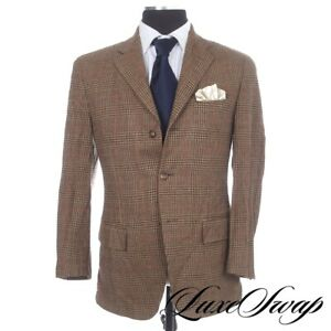#1 MENSWEAR Polo Ralph Lauren Italy Angora Mix Brown Maxi Check Tweed Jacket 38S