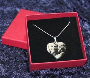 Bildgravur geschw. Herz Anhänger Edelstahlanhänger Fotogravur - zum Valentinstag