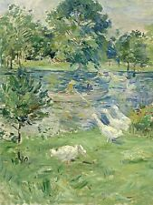 BERTHE MORISOT FRENCH GIRL BOAT GEESE OLD ART PAINTING POSTER PRINT BB4944A
