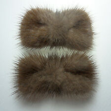 Brown ribbon real mink fur decorative shoe clips formal ornament charm