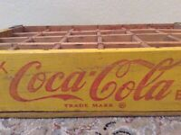 COCA-COLA~Wooden Box~Yellow/Red COKE~Soda Adv Sign~24 Crate~1968~Sacramento, CA