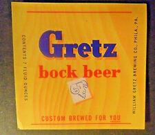 GRETZ BOCK BEER 7 OZ PENNSYLVANIA