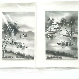 Balinese Fabric Hand Paintings Black and White Tropical Paradise Finger Art