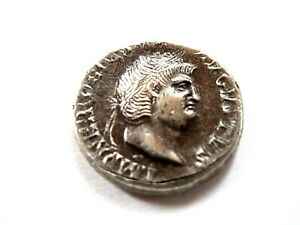 Roman silver denarius of Neron (37-68 AD) from the ancient Rome
