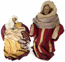 "Quality Crepe Paper Set of Nativity Figurines 12"" Joseph 9"" Mary Baby Jesus"