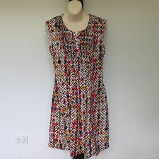 'MARCO POLO' BNWT SIZE '14'  MULTI PRINT SLEEVELESS DRESS WITH GATHERED FRONT